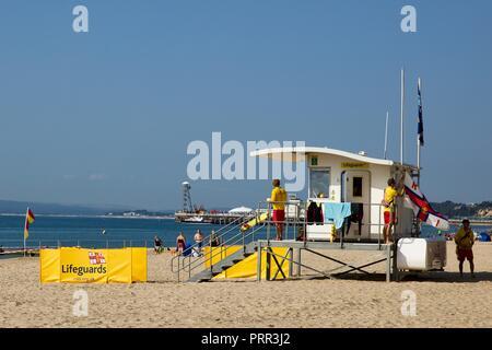 RNLI lifeguard station on Bournemouth beach - Stock Photo
