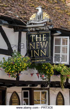 Close-up of The New Inn, an historic Hall and Woodhouse public house in Salisbury, Wiltshire, England, UK - Stock Photo
