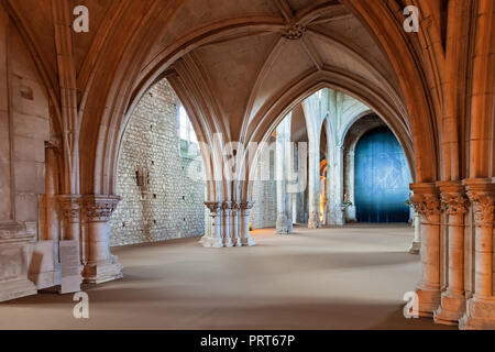 Santarem, Portugal. Bellow Rood Screen or Choir Screen in the Church of Convento de Sao Francisco Convent. 13th century Mendicant Gothic. Franciscan - Stock Photo