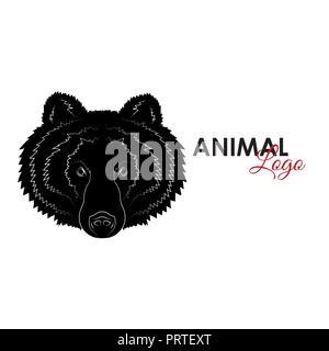 Head Grizzly bear icon logo symbol vector illustration - Stock Photo