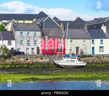 GALWAY, IRELAND - AUGUST 3, 2018: A view from the Claddagh, across the River Corrib,  towards The Long Walk in Galway, Ireland. - Stock Photo