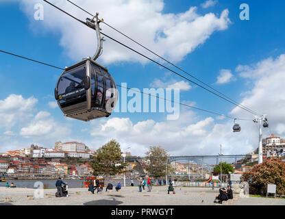 The Teleferica de Gaia (cable car) from Avenida de Diogo Leite, Vila Nova de Gaia, Porto, Portugal - Stock Photo