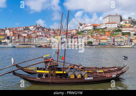 View of Porto and the River Douro from Vila Nova de Gaia, Porto, Portugal - Stock Photo
