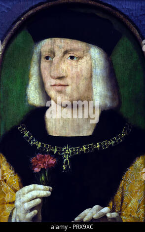 Portrait of the Holy Roman Emperor Maximilian I 1459-1519 Germany (  Roman-German King, and from 1508 emperor of the Holy Roman Empire). painter Joos van Cleve 1487-1541 Dutch the Netherlands - Stock Photo