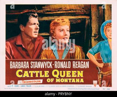 Prod DB © RKO Radio Pictures - Filmcrest Productions / DR LA REINE DE LA PRAIRIE CATTLE QUEEN OF MONTANA de Allan Dwan 1954 USA Ronald Reagan Barbara - Stock Photo