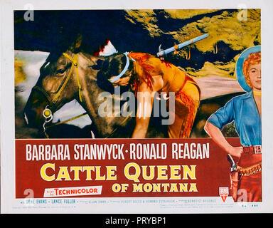 Prod DB © RKO Radio Pictures - Filmcrest Productions / DR LA REINE DE LA PRAIRIE CATTLE QUEEN OF MONTANA de Allan Dwan 1954 USA Barbara Stanwyck. west - Stock Photo