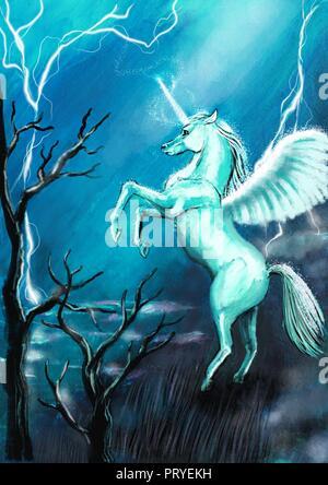 Unicorn illustration - Stock Photo