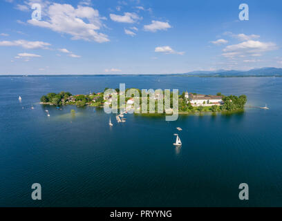 Germany, Bavaria, Chiemsee, Aerial view of Fraueninsel - Stock Photo