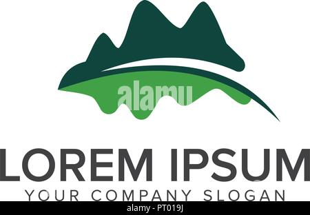 mountain leaf logo. Leaf Garden Floral Landscape logo design concept template - Stock Photo