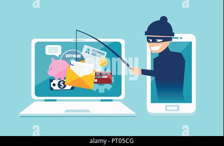 Login into account in email envelope and fishing for private financial account information. Vector concept of phishing scam, hacker attack and web sec - Stock Photo