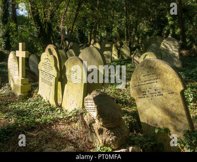 Headstones in Highgate Cemetery, London - Stock Photo