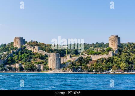 Istanbul, Turkey, October 8, 2011: Rumeli Fortress (Rumeli Hisari) on the banks of the Bosporus. - Stock Photo