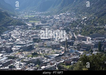 Cityscape in Summer of Andorra La Vella, Andorra. - Stock Photo