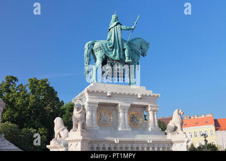 Equestrian statue of King Stephen I, Fisherman's Bastion at the Castle Hill of Buda, Budapest, Hungary - Stock Photo