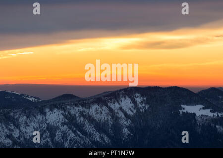 View of Monviso during a winter sunset from Monte Pora, Val Seriana, Bergamo district, Lombardy, Italy, - Stock Photo