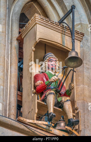 The Wells Cathedral Clock is an ornate astronomical timepiece in the north transept of the Somerset landmark cathedral. - Stock Photo