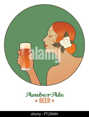 Woman holding a glass of beer. Amber Ale. Vintage style. - Stock Photo