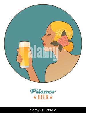 Woman holding a glass of beer. Pilsen. Vintage style. - Stock Photo