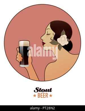 Woman holding a glass of beer. Stout. Vintage style. - Stock Photo