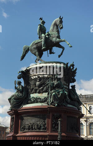 Equestrian monument to Tsar Nicholas I of Russia designed by Russian sculptor Peter Clodt von Jürgensburg (Pyotr Klodt) and French architect Auguste de Montferrand in Saint Isaac's Square in Saint Petersburg, Russia. - Stock Photo