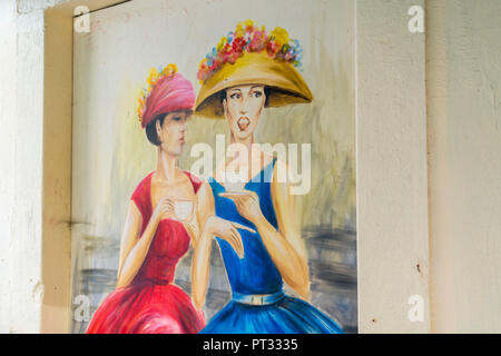 Painted doors in Santa Maria street for the Art of Open Doors project, Funchal, Madeira region, Portugal, - Stock Photo