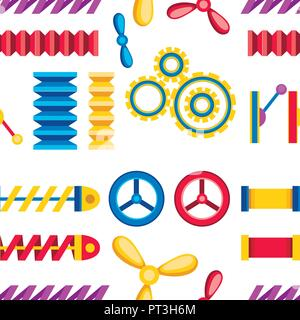 Seamless pattern. Collection of colorful gear wheels, metal springs and mechanism icons set. Flat vector illustration on white background. - Stock Photo