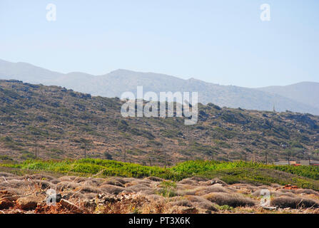 rural landscape on a hill near Sisi on the Greek island Crete - Stock Photo