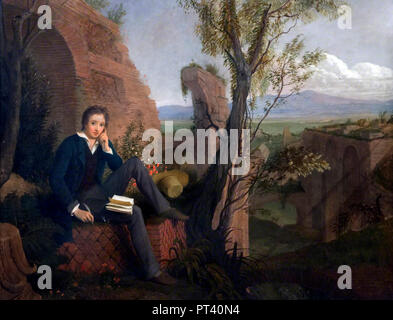 Percy Shelley. Portrait of the English romantic poet, Percy Bysshe Shelley (1792-1822) by Joseph Severn, oil on canvas, 1845 - Stock Photo
