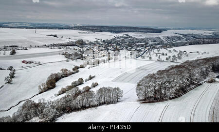 Drone shot Winterlandschaft near Onsdorf, Saargau, Trier-Saarburg, Rhineland-Palatinate, Germany - Stock Photo