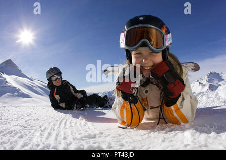 Snowboard scene in the ski resort Serfaus-Fiss-Ladis, near Landeck, Tyrol, Austria - Stock Photo
