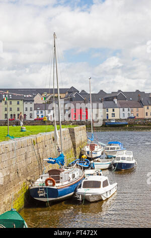 GALWAY, IRELAND - AUGUST 18, 2012: A view from the Claddagh, across the River Corrib,  towards The Long Walk in Galway, Ireland. - Stock Photo