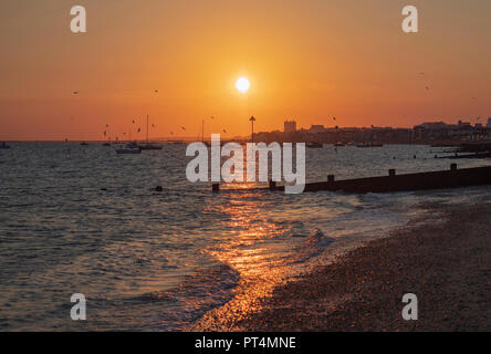 Sunset over Southend On Sea - Stock Photo