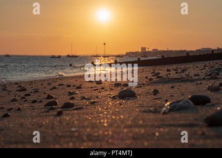 Beach Sunset, Southend On Sea - Stock Photo
