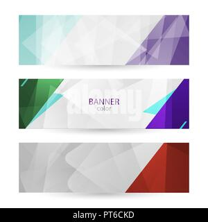 Set horizontal bright banners with empty place for text. Abstract graphic vector backgrounds. color banner templates for your projects. - Stock Photo
