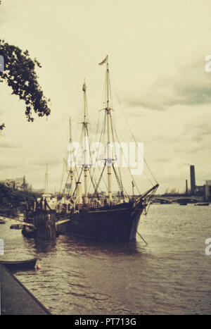London January 1969 - RRS Discovery moored on Thames. Three-masted ship of the British Antarctic Expedition with  Robert Falcon Scott and Ernest Shackleton, 1929-1931. vintage photography, scan of analog image - Stock Photo