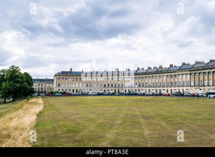 Grade I listed Georgian houses on the Royal Crescent, Bath, Somerset, England, UK. - Stock Photo