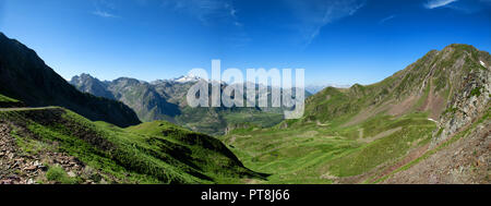 panorama of Col du Tourmalet in pyrenees mountains - Stock Photo