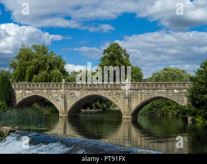 Batheaston toll bridge crossing the river Avon at Bathampton, Bath, Somerset, England, UK - Stock Photo