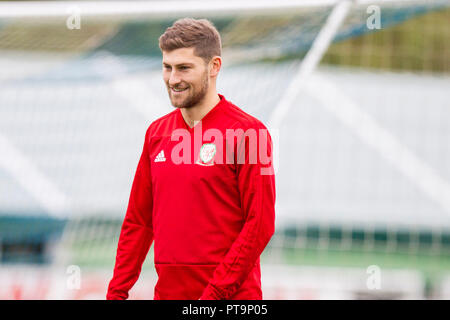 Hensol, Wales, UK. 8th October 2018. Ben Davies during Wales national team training ahead of the International Challenge match against Spain and the UEFA Nations League match agains Ireland. Credit: Mark Hawkins/Alamy Live News - Stock Photo
