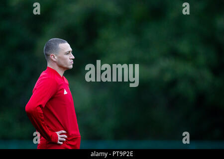 Hensol, Wales, UK. 8th October 2018. James Chester during Wales national team training ahead of the International Challenge match against Spain and the UEFA Nations League match agains Ireland. Credit: Mark Hawkins/Alamy Live News - Stock Photo
