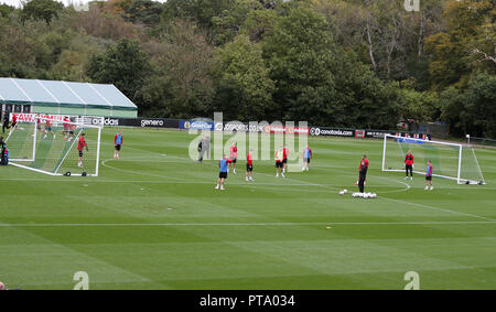 Hensol, Wales, UK. 8th Oct 2018. a general view during the Wales football squad training at the Vale Resort in Hensol, near Cardiff , South Wales on Monday 8th October 2018.  the team are preparing for their friendly international match against Spain this Thursday.   pic by Andrew Orchard/Alamy Live News - Stock Photo