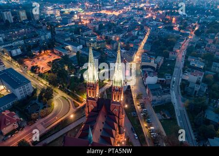 Aerial drone view on Basilica and city center in Rybnik. Rybnik is a city in southwestern Poland, in the Silesian Voivodeship. - Stock Photo