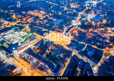 Aerial drone view Rybnik main square at night. Rybnik is a city in southwestern Poland, in the Silesian Voivodeship. - Stock Photo