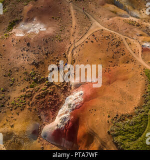 Seltun, Geothermal Area, Krysuvik Iceland Seltun is a geothermal area bubbling with hot springs, mud pots and volcanic vents or solfataras. - Stock Photo