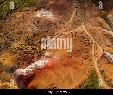 Seltun, Geothermal Area, Krysuvik Iceland Seltun is a geothermal area bubbling with hot springs, mud pots and volcanic vents or solfataras. A short dr - Stock Photo