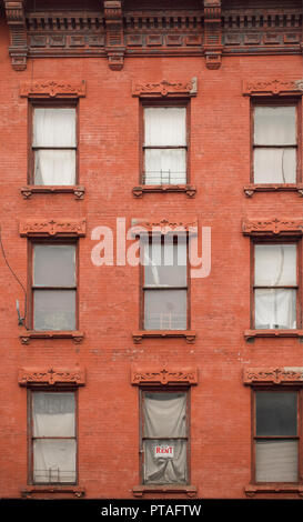 for rent sign in window Greenpoint Brooklyn - Stock Photo