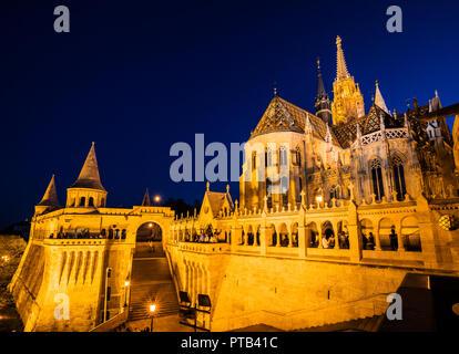 Budapest Fishermen's Bastion and St Matthias church - Stock Photo