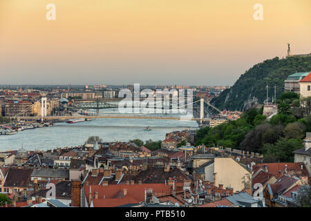 Budapest skyline, bridges over Danube river - Stock Photo