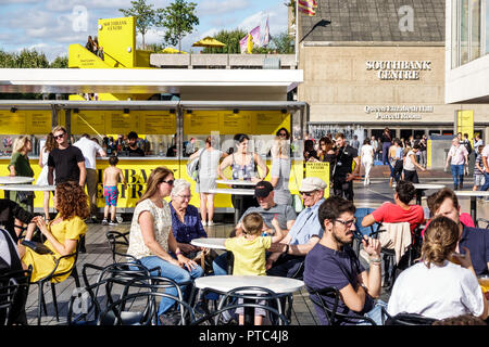 London England United Kingdom Great Britain Lambeth South Bank Southbank Centre center arts complex venue Royal Festival Hall terrace bar outside seat - Stock Photo