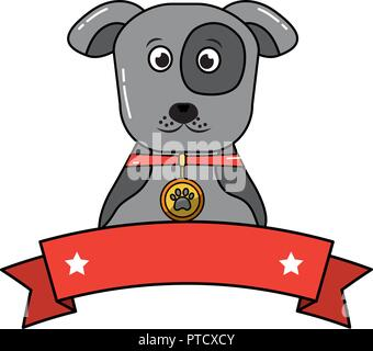 dog pet portrait with collar emblem - Stock Photo